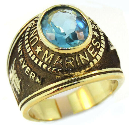 Aqua Marine Stone US Marines Military Gold EP Mens Ring