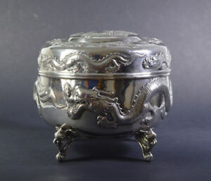 Non-u.s. Silver Antique Chinese Export Silver Box Canton Qing Dynasty China Dragon 15 Cm 605 Gr Attractive Fashion Antiques