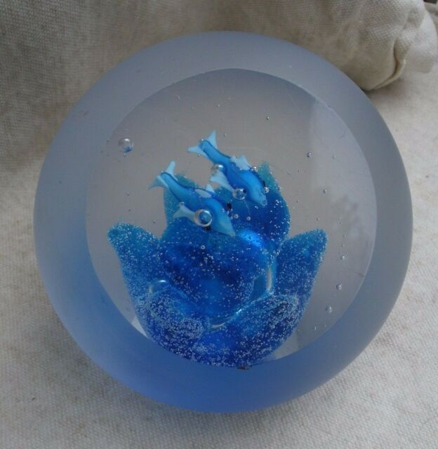 vintage Art Glass Dolphin paperweight,clear & frosted,blue flower,1970s,round