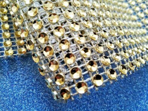 Metre GOLD Diamante Rhinestone Sparkling Effect Wedding Cake Trim Ribbon Mesh