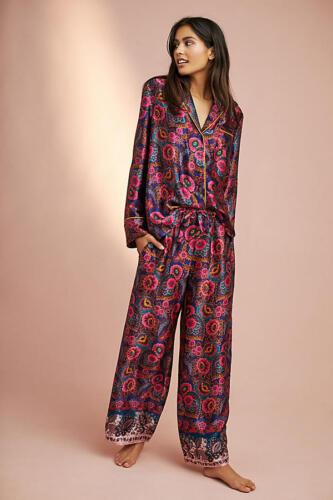 ANTHROPLOGIE  Floreat Silk Sleep Pajama Lounge Top  XS   S   NWT