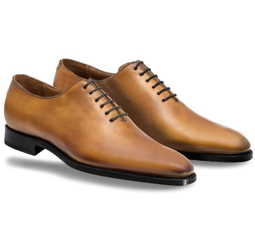MEN'S HANDMADE TAN COLOR OXFORD HIGH QUALITY LEATHER DRESS SHOES WITH BLACK SOLE