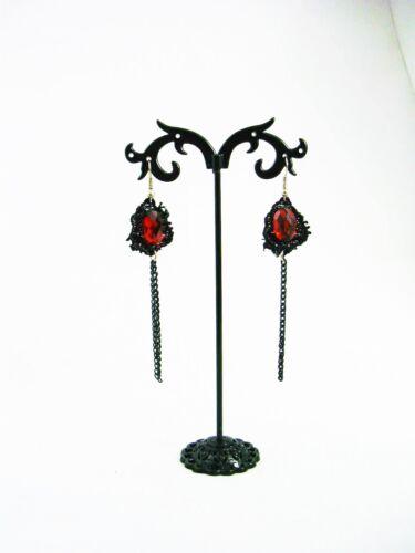 Gothic ohrringe spitze schwarz rot ketten 098