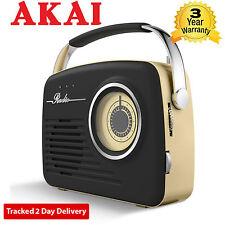 Akai A60014 AM/FM Vintage Retro Design Radio with SD/USB Input Black