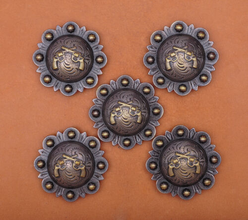 """LOT OF 6 CONCHOS ANTIQUE BRASS PICO BERRY WESTERN RODEO LEATHER TACK 1 1//2 /"""""""