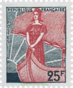 EBS-France-1959-Marianne-a-la-nef-in-the-boat-25-Franc-YT-1216-MNH