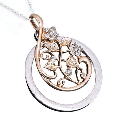 CW /_ élégant Femme Creux magnify Glass Vigne Strass Collier Pendentif Bijoux