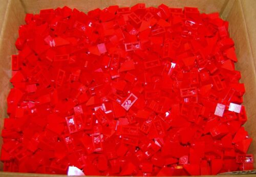 Lego RED Roof Tiles 1x2 / 45° Angle Slope Brick (Lot of 25)