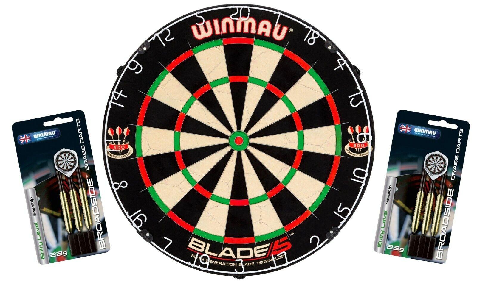 Dartboard WINMAU Original  Blade 5  + 2 2 2 Steeldart Sets  Broadside Brass  im Set df0895