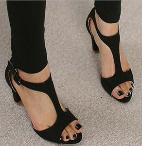 Womens Summer Sexy Open Toe Med Heel T-Strap Sandals Shoes Black ...