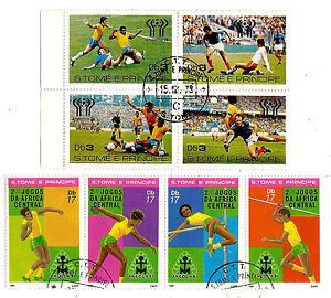 SAO-TOME-e-PRINCIPE-2-Blocs-X-4-timbres-obliteres-Athletisme-et-Football-139T5