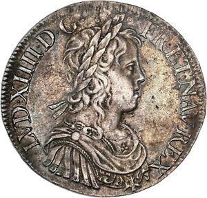 Louis-XIV-Ecu-a-la-meche-longue-1653-X-Amiens-Splendide-exemplaire-rare-etat
