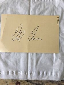 Ted Turner ATLANTA BRAVES OWNER  AUTOGRAPH AUTO 3x5 INDEX CARD Nice!