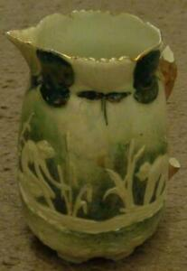 Antique-China-Pitcher-Emobssed-Design-Iridescent-Glaze-NO-HANDLE-BEAUTIFUL