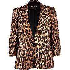 Bnwt Femme River Island Marron Imprimé Léopard structuré Blazer Jacket Taille 6