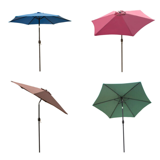 1bf8db8f721b 8/9/10FT Outdoor Patio Umbrella Canopy Market Shelter Multi-Color Tilt  W/Crank