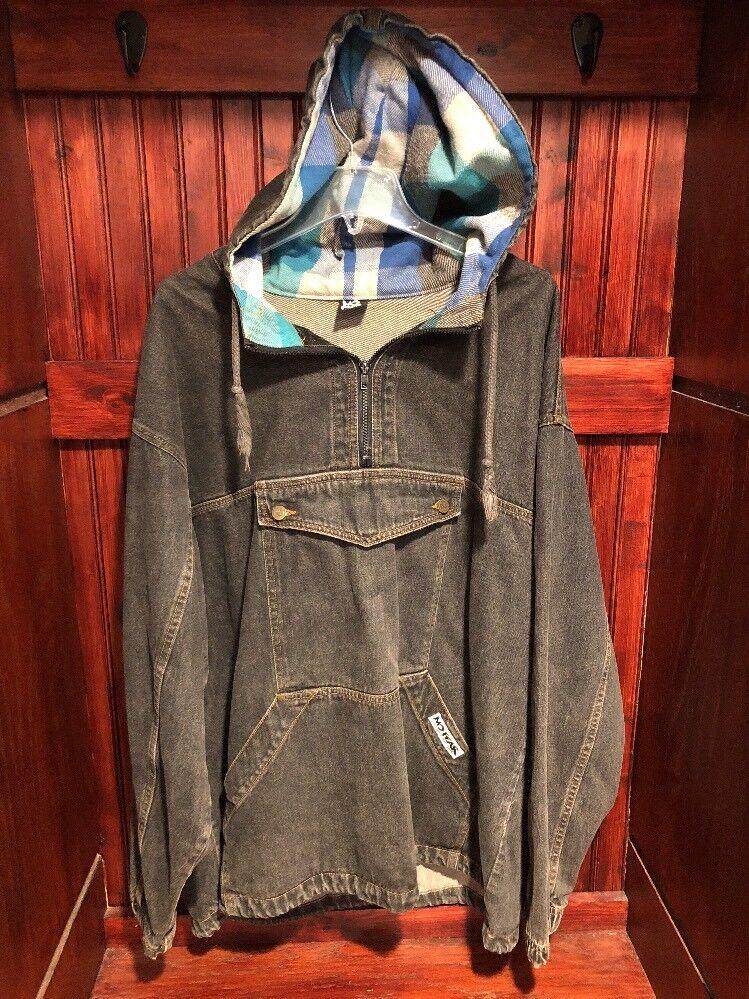 No Fear Vintage 90s Mens schwarz Denim Pull over Hooded Hooded Hooded Jean Jacket Large c07