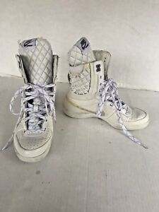 d3af572f2576 Nike Legends Size 7 White   Silver Super High Top S S Quilted Shoes ...