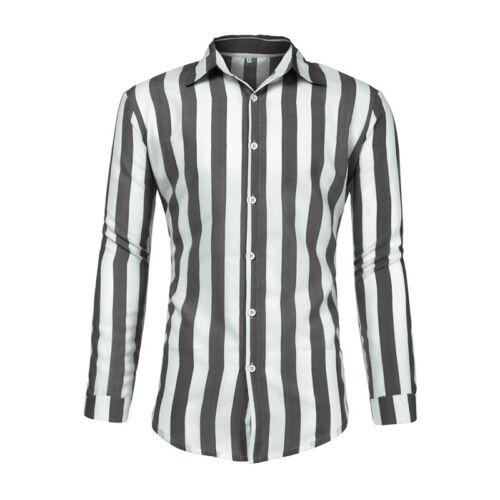 Herren Hemd Langarm Gestreift Kragen Blusen Buisness Freizeit Slim Fit Shirt Top