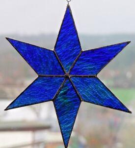 Bleiverglasung-Fensterbild-Suncatcher-Stern-17cm-Colorescentglas-in-Tiffany