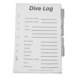 jcs dive log organizer pages for 3 ring binder dive log ebay