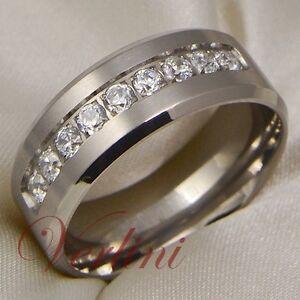 Image Is Loading Anium Ring Men 039 S Wedding Band Diamond