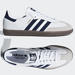 outlet store sale usa online sale uk Details about adidas Originals Samba OG Mens Leather Trainers White Navy  B75681 ~ SIZES 5-11