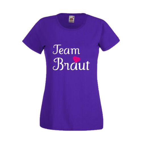 Team Braut Spruch Fun Ladyfit Hochzeit Party JGA Damen T-Shirt mit Motiv Braut