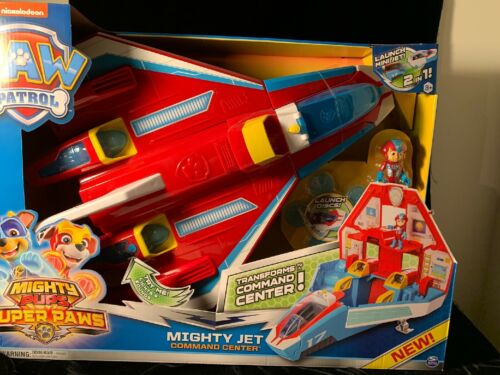 New 2020 PAW Patrol Super PAWs 2in1 Transforming Mighty Pups Jet Command Center