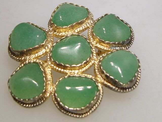 VINTAGE STERLING WITH GOLD WASH POLISHED JADE PIN/BROOCH!
