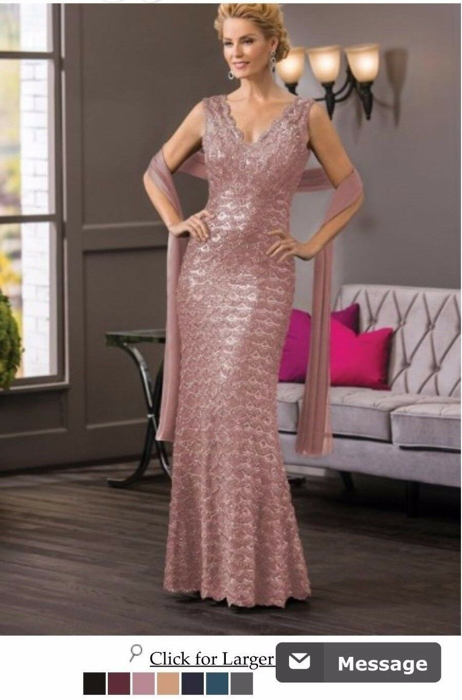 V-neck Gown & Shawl by Jade Couture (Mauve/Pink) Size 12