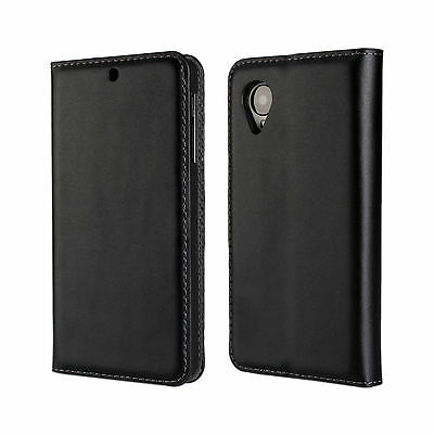 Black Genuine Leather Open Book Style Wallet Card Case Cover For LG Nexus 5