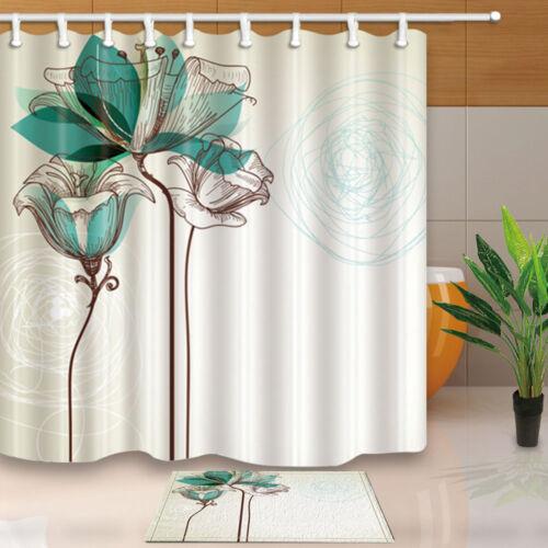 Watercolor hibiscus flower Shower Curtain Bathroom Waterproof Fabric /& 12hooks