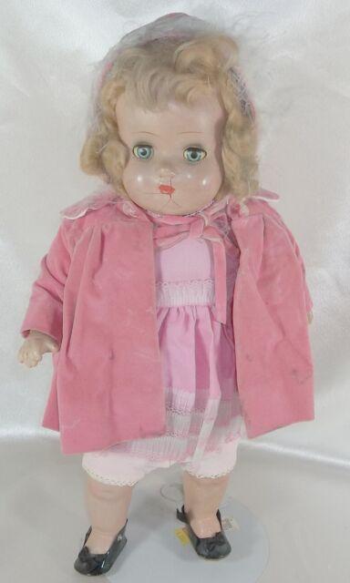 "Antique Collectible Composition Doll 15"" Cloth Body Mohair Wig Un-marked 1940's"