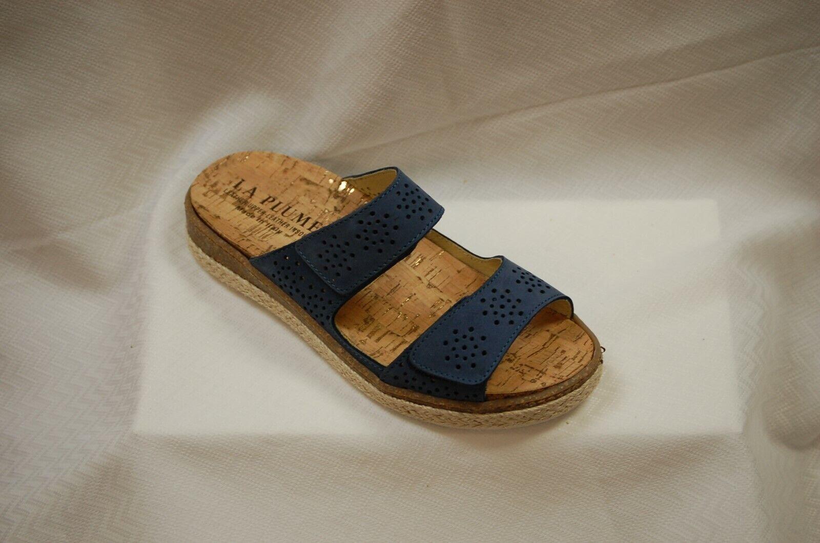 La Plume Meadow Slide Sandal Denim bluee Nubuk leather + + + removable insole size 38 07d798