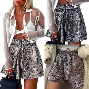SweatyRocks Womens Boho Paperbag Waist Snakeskin Self Tie Summer Beach Shorts