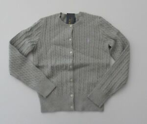 NWT-Ralph-Lauren-Girls-Mini-Cable-Cotton-Cardigan-Grey-Sweater-Sz-5-6-6x-NEW-40