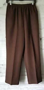 Alfred-Dunner-Women-s-Brown-Elastic-Waist-Dress-Pants-Trousers-Size-10P-NWT