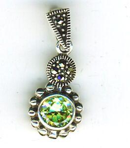 "5//8/"" SPARKLING PERIDOT 925 STERLING SILVER pendant"