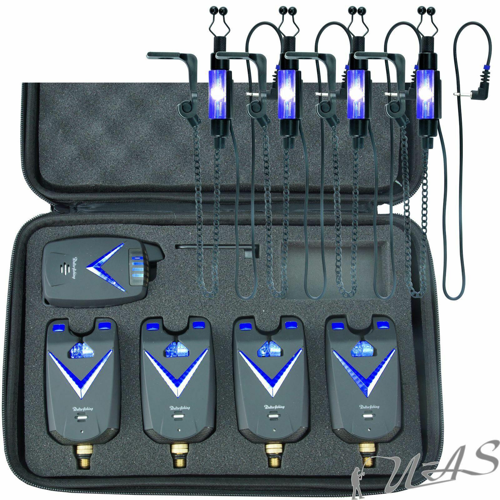 Set risparmio DELTA Fishing 41 radio morso indicatore Blu & 4 pensile caso morso luce notturna