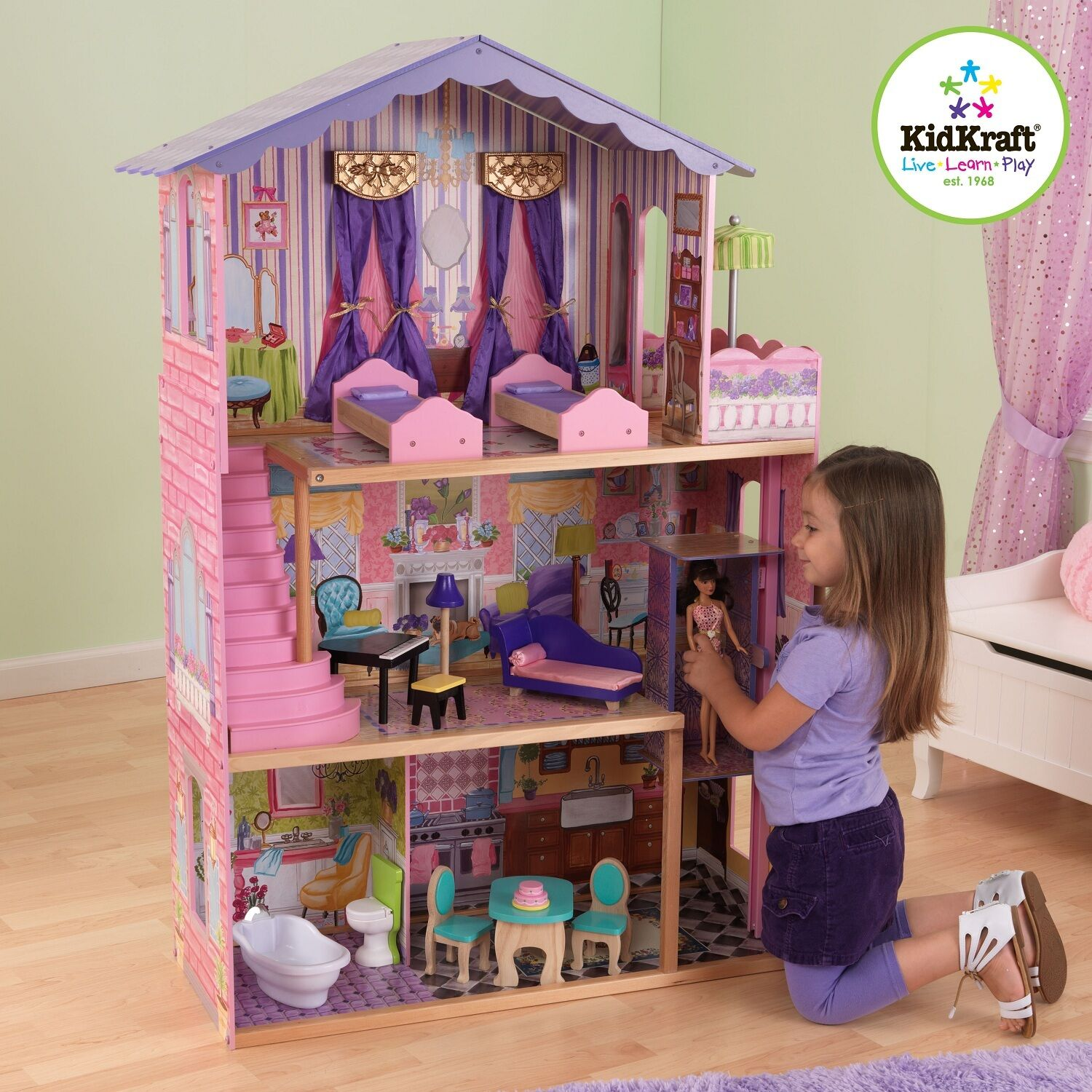 Kidkraft My Dream Mansion Holz Puppenhaus mit für Barbie