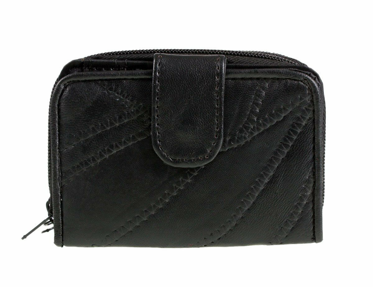 NEW LADIES LEATHER PATCHWORK PURSE NOTECASE 4812 black