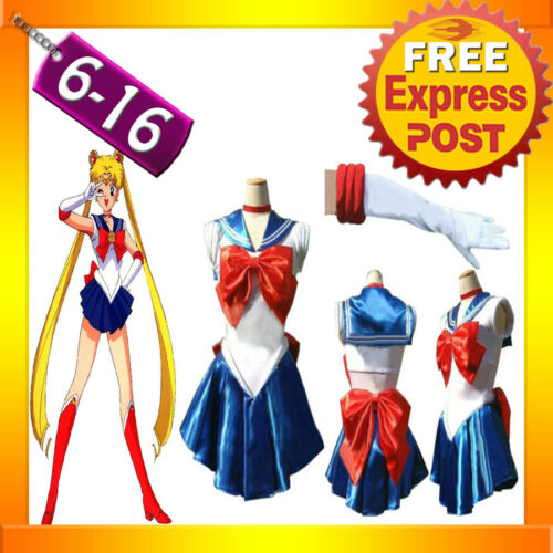 G33 Sailor Moon Costume Cosplay Uniform Fancy Dress Up Sailormoon Outfit /& Glove