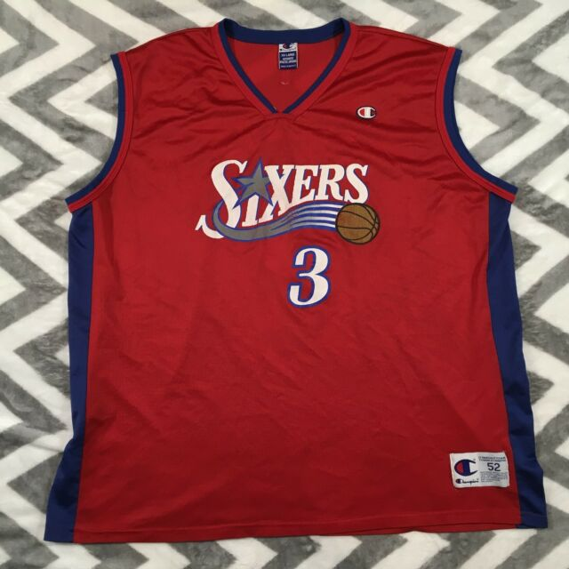 78786bfb55e Vintage Rare Champion NBA Philadelphia Sixers 76ERS Jersey Allen Iverson 3  2XL