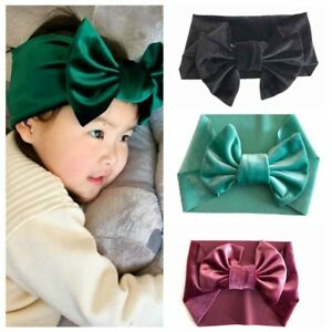 Image is loading Baby-Girls-Velvet-Big-Bows-Soft-Elastic-Headband- 8bf34e5efba