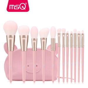 8a407deeada1 Details about MSQ 12pcs Professional Makeup Brush Set Powder Premium Hair  Pink Pig Zipper Bag