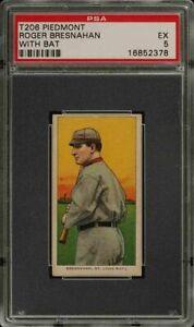 Rare-1909-11-T206-HOF-Roger-Bresnahan-With-Bat-Piedmont-350-St-Louis-PSA-5-EX