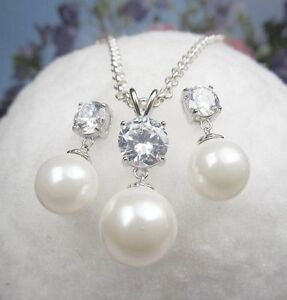 1 Pearls Set Studs Pendant 925 Sterling Silver With Zirconia And Curb Chain