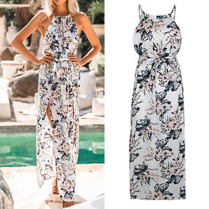 a3b7a3ed8742 Womens Boho Floral Maxi Dress Summer Beach Long High Split Halter ...