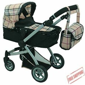 Mommy & Me Babyboo Doll Pram Foldable Doll Stroller with Basket Convertible Seat
